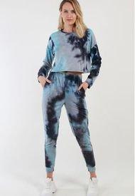 Conjunto Crop Corto Tie Dye Azul Night Concept