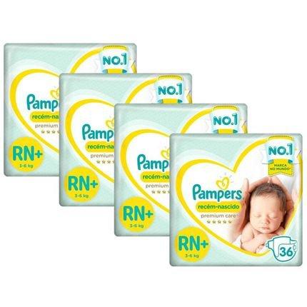 Kit Fralda Pampers Premium Care Recém Nascido Plus com 144 unidades - 3 à 6 Kg