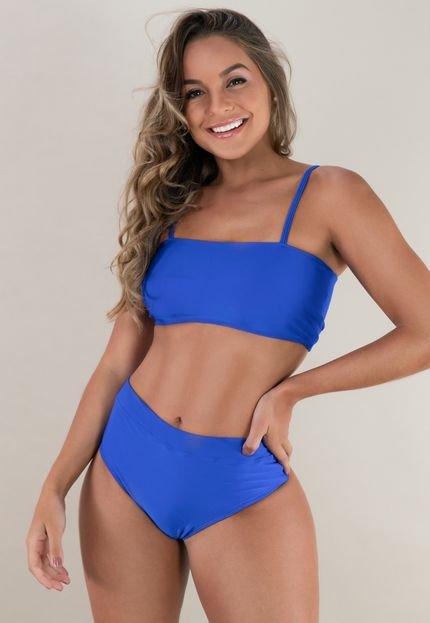 Mvb Modas Biquini MVB Modas Top Faixa Hot Pants Cintura Alta Azul n2Enu