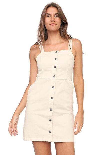 Mercatto Vestido Sarja Mercatto Curto Botões Off-White Pcmn7