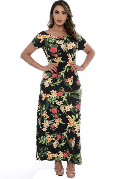 B Bonnie Vestido Longo B'Bonnie Mel Preto Floral da2Bd