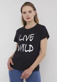 Polera Lettering Negro Live Wilds - Mujer Corona