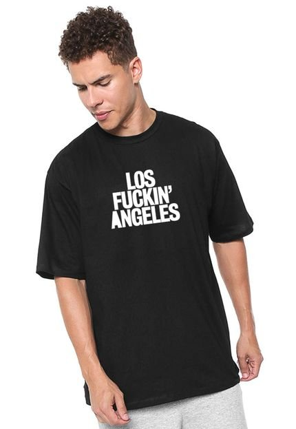 Camiseta Skull Clothing Manga Curta Los fk Angeles Preta