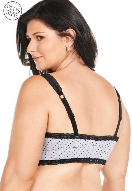 Mondress Lingerie Top Com Alca De Renda E Bojo Removivel Plus Size Mondress Cinza 5fM6o