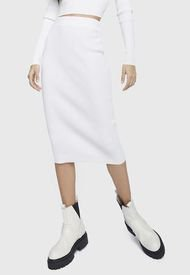 Falda Glamorous Blanco - Calce Ajustado
