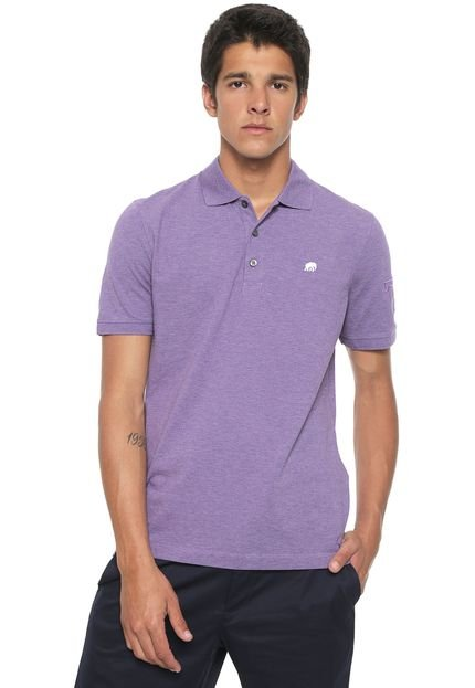 Camisa Polo Banana Republic Reta Bordada Roxa