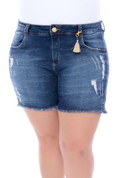 Bermuda Jeans Legítima Defesa Plus Size Pingente Azul - Marca Legítima Defesa