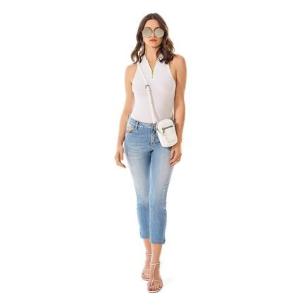 Morena Rosa Calca Morena Rosa  Slim Cropped Giane Cos Intermediario Detalhes Neon Jeans hePVW