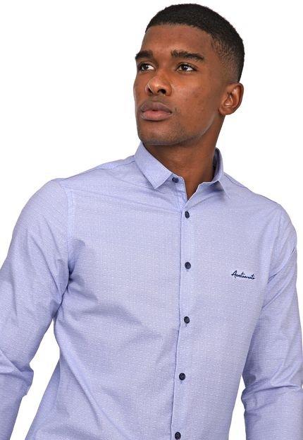 Camisa Acostamento Slim Estampada Azul