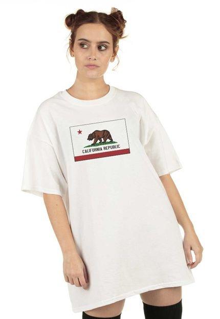Skull Clothing Blusa Skull Clothing California Republic Flag Branca 5MrGw