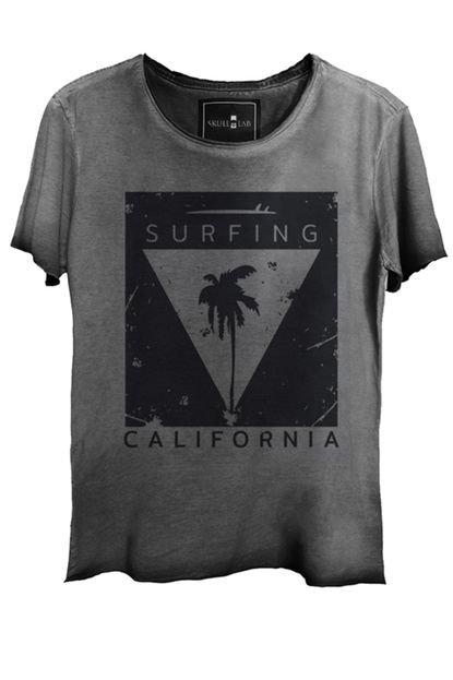 Camiseta Estonada Skull Lab  Caveira Skate Surf Grafite