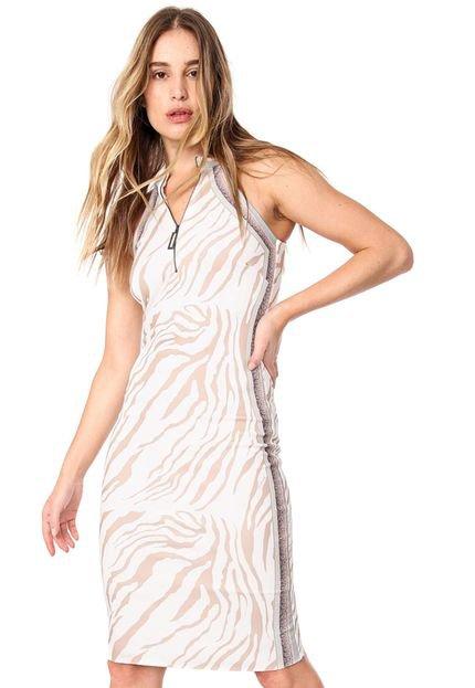 Acostamento Vestido Acostamento Curto Zebra Off-white/Bege Jzel9