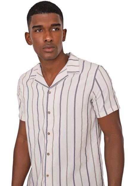 Camisa Acostamento Reta Listrada Bege/Azul