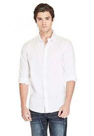 Camisa Ls Damon Plain Poplin Blanco Guess Factory