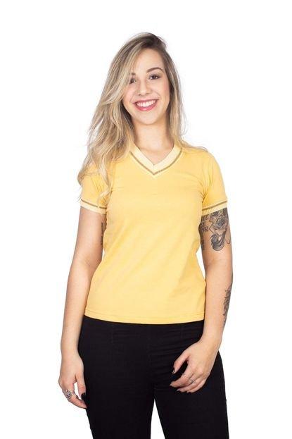 4 Ás Camiseta 4 Ás Amarela Manga Curta Sanfonada TYa5o