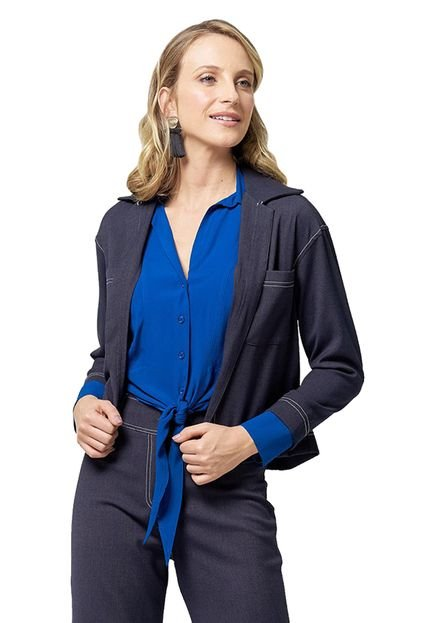 MX Fashion Casaqueto MX Fashion com Bolsos Collins Azul Marinho dLYox