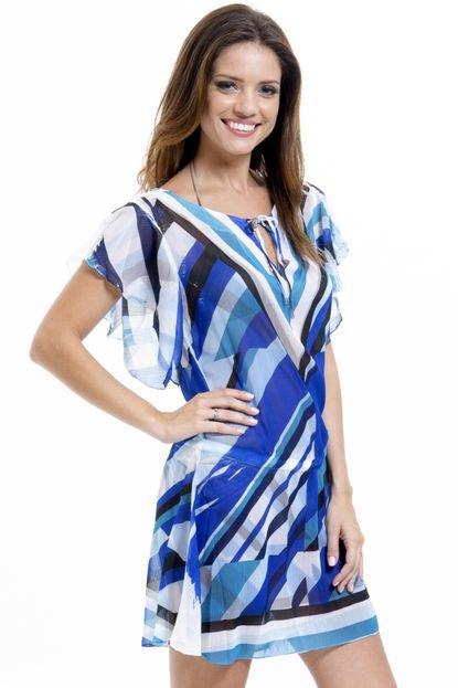 101 Resort Wear Vestido 101 Resort Wear Saída Crepe Estampado Listrado Meia Manga Azul 3RNVb