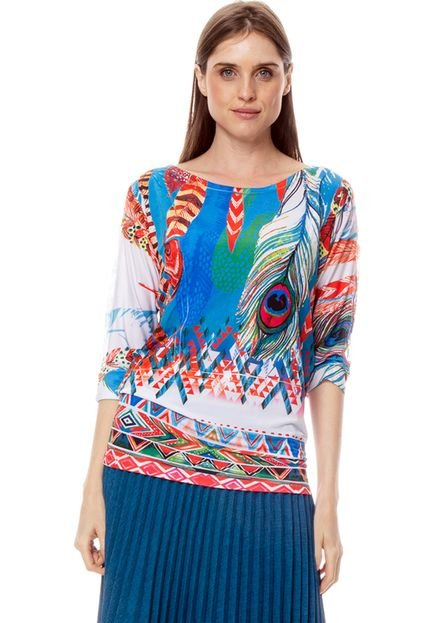 101 Resort Wear Blusa 101 Resort Wear Morcego Jersey Estampada Penas 8da5L