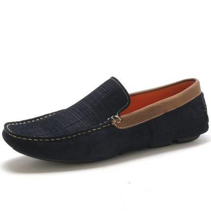 Navit Shoes Mocassim Navit Shoes Driver Em Couro Marinho 1S7FS