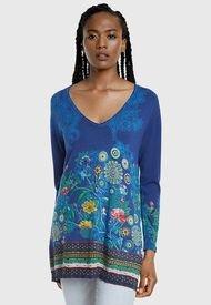 Sweater Desigual Azul - Calce Holgado