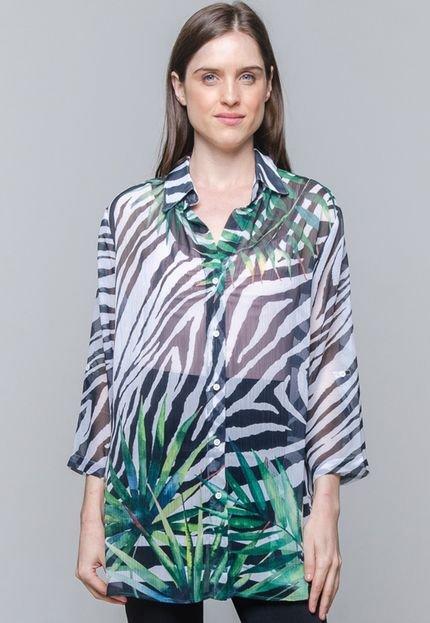 101 Resort Wear Vestido Chemise 101 Resort Wear Crepe Zebra Folhas Verde e Preto C3OP4