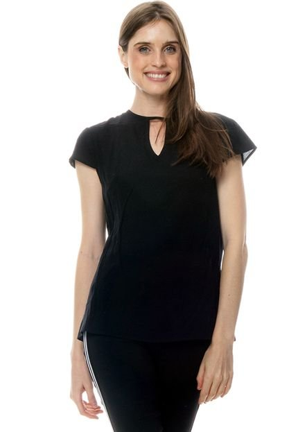 101 Resort Wear Blusa 101 Resort Wear Viscose Decote Vazado Manga Curta Preto EgieA