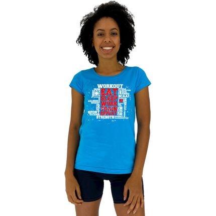 Alto Conceito Camisa Babylook Alto Conceito Workout Eat Sleep Azul Piscina Spcgn