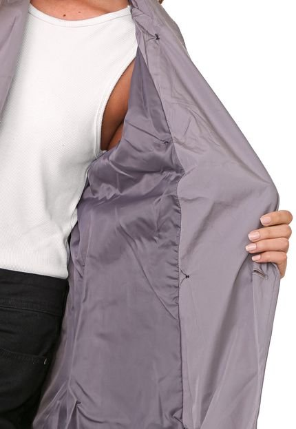Ellus Casaco Trench Coat Ellus Nylon Wrinckle Cinza
