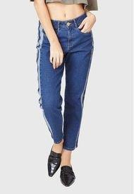 Jeans Mom Costuta Lateral Azul Amalia Jeans