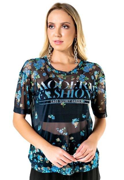 Caos Blusa De Tule Com Silk Modern Fashion Com Transfer Azul SjvSG
