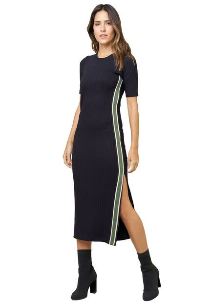 MX Fashion Vestido MX Fashion Midi Canelado Gabriel Preto 2WmXZ