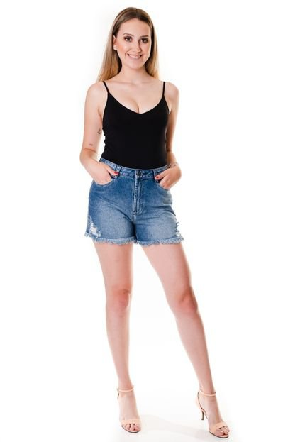 Multi Ponto Denim Shorts Multi Ponto Denim Comportado Jeans