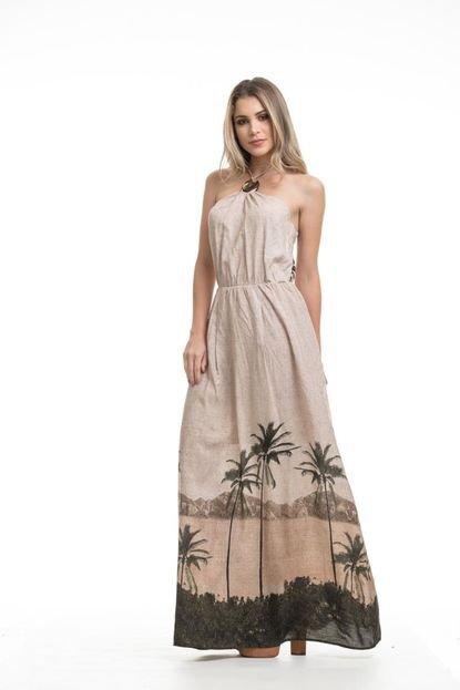 Clara Arruda Vestido Clara Arruda Longo Decote Removível  50482 Marrom NaE9v