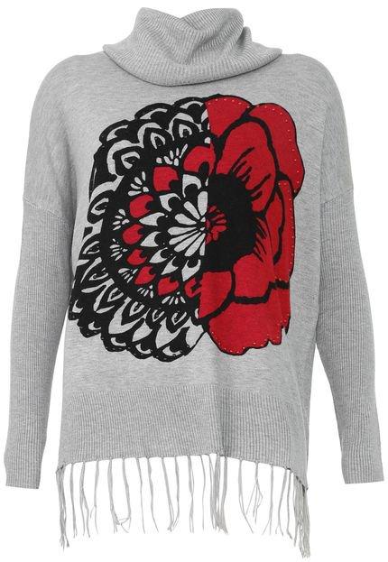 Desigual Suéter Desigual Tricot Floral Cinza wAAI1