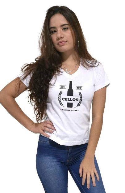 Cellos Camiseta Feminina Gola V Cellos Drink Premium Branco KrasI