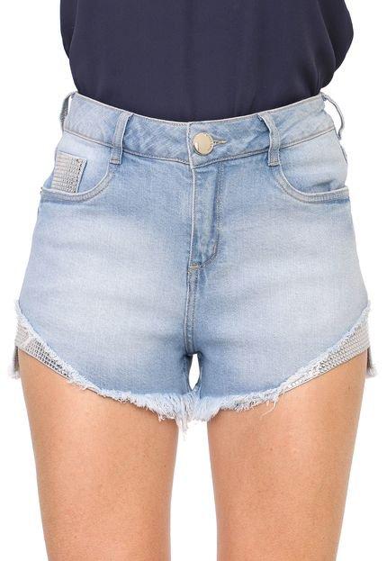 Morena Rosa Short Jeans Morena Rosa Desfiado Azul