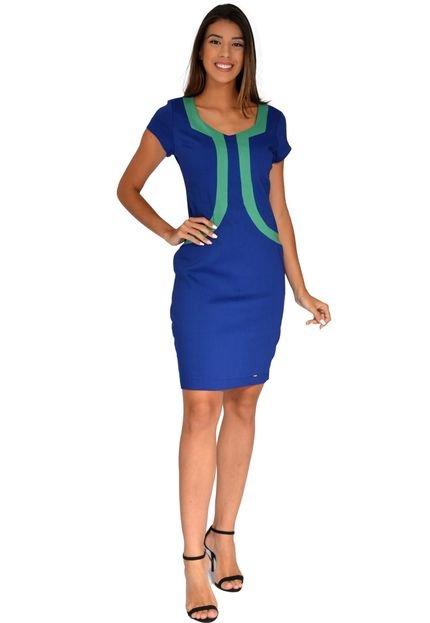 Pirony Vestido Pirony Cavado Bicolor Azul/Verde Ref. 116865-4 LZvYT