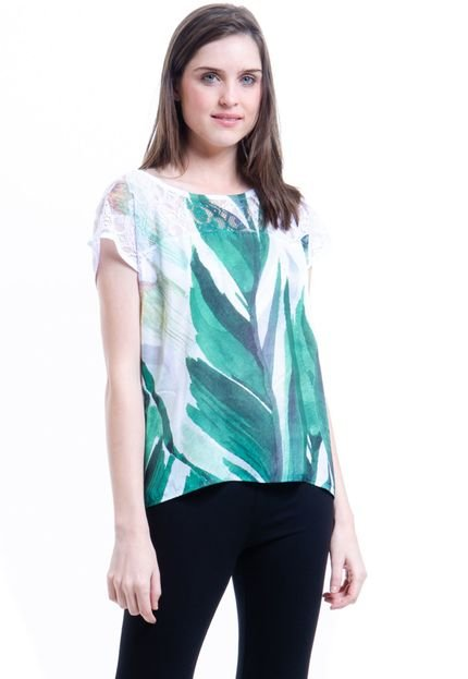 101 Resort Wear Blusa 101 Resort Wear Tunica Crepe Mangas Curtas Estampada Folhas Verdes cDDau