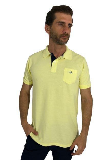 Camisa Polo Mister Fish Slim Com Bolso Amarelo BB