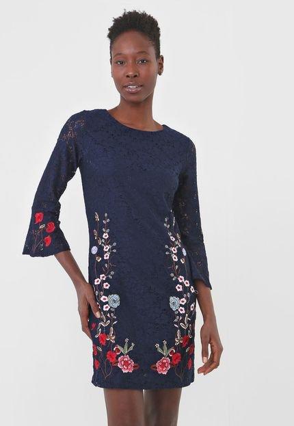 Desigual Vestido Desigual Curto Vermond Azul-Marinho 32xUP