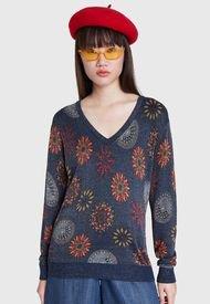 Sweater Desigual Azul - Calce Regular