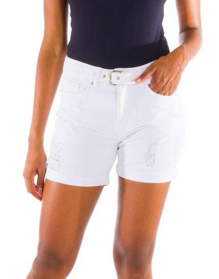 Loony Shorts Sarja Colorida Com Cinto Branco SNmey