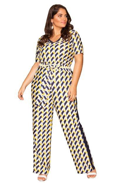 Almaria Plus Size Blusa Almaria Plus Size Pianeta Estampada Amarela lHZMr