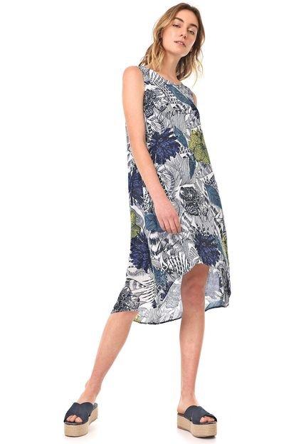 Desigual Vestido Desigual Midi Iowas Branco/Azul-marinho clhme