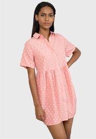 Vestido MISSGUIDED Shirt Smock Dress Polka Dresses Missguided Rosa - Calce Regular