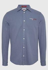Camisa Tommy Jeans Tjm textured stripe logo shirt  Azul - Calce Regular