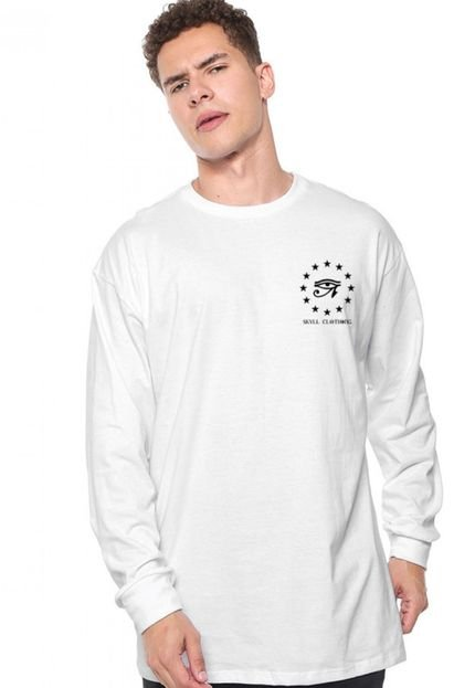 Camiseta Manga Longa Skull Clothing Horus Branca