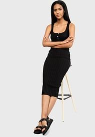 Vestido MISSGUIDED Knitted Rib Dress Knitwear Negro - Calce Ajustado