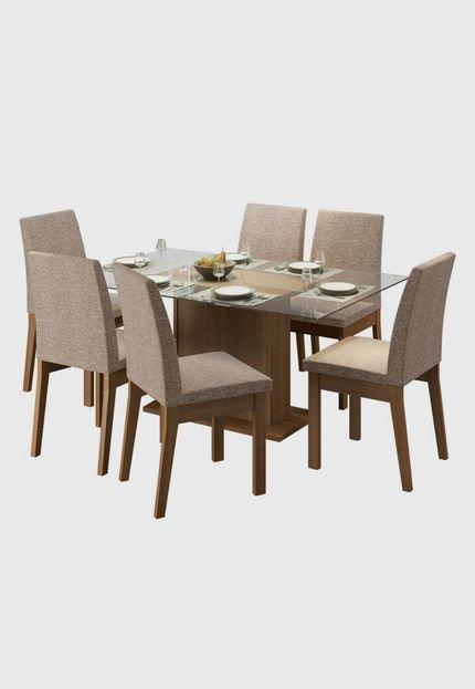 Menor preço em Sala de Jantar Madesa Melissa Mesa Tampo de Vidro com 6 Cadeiras
