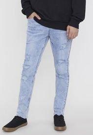 Jeans Skinny Roturas Azul I - Hombre Corona